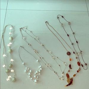5 necklace bundle -bead/faux pearl/layering